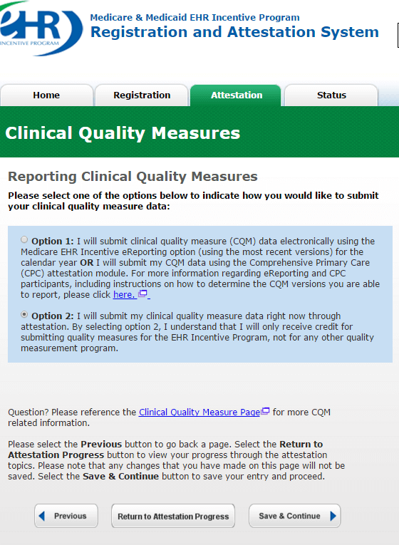 choose option 2 when attesting for the quality measures under the EHR MU2