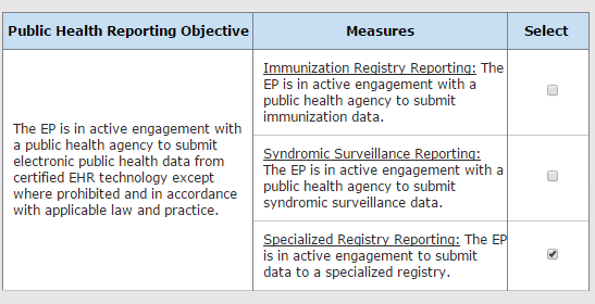 Public Health Reporting Objective Measures